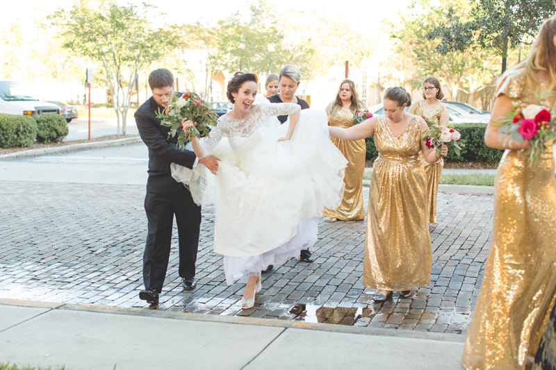 Bride having fun with her bridal party