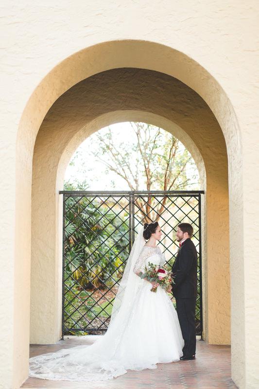 Bride and Groom Portrait at Knowles Memorial Chapel wedding