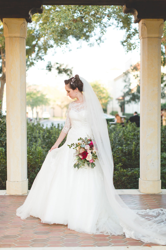 Lace Cathedral Veil with Lace Wedding Dress for Disney Themed Wedding at Knowles Memorial Chapel