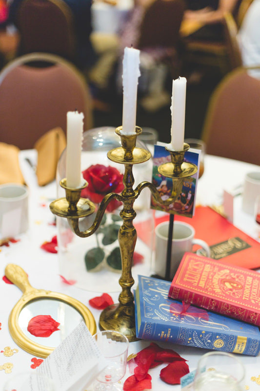 Beauty and the Beast centerpiece at Disney Themed wedding