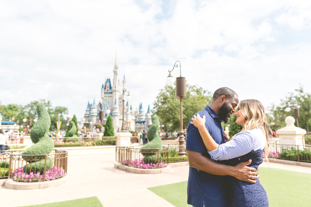 Disney Engagement session photo with castle