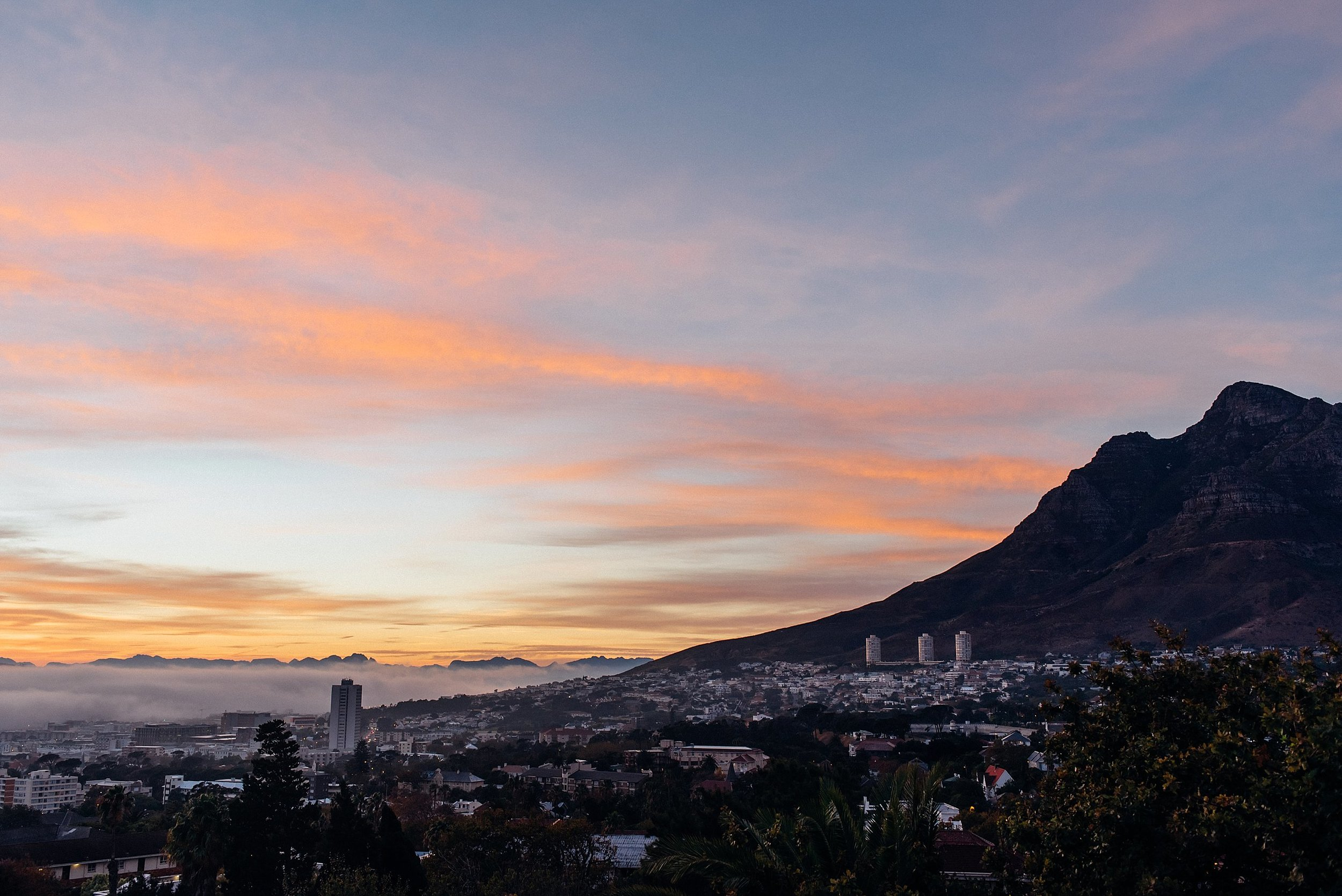 Our first morning in Cape Town was breathtaking. We always make it a point to get at least one sunrise and sunset in for every trip we take.