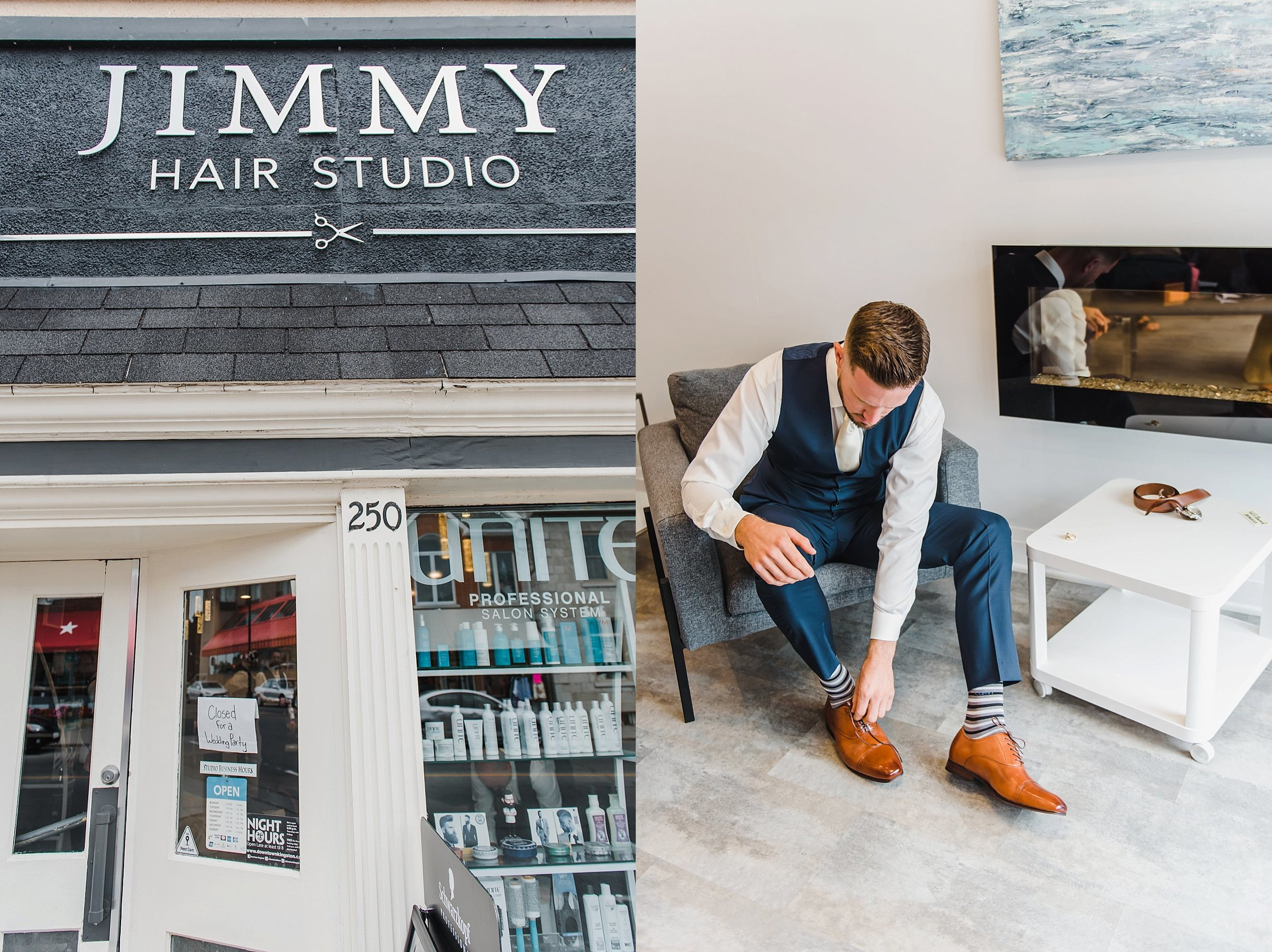 We loved how the guys got ready at their local barber shop, Jimmy Hair Studio.