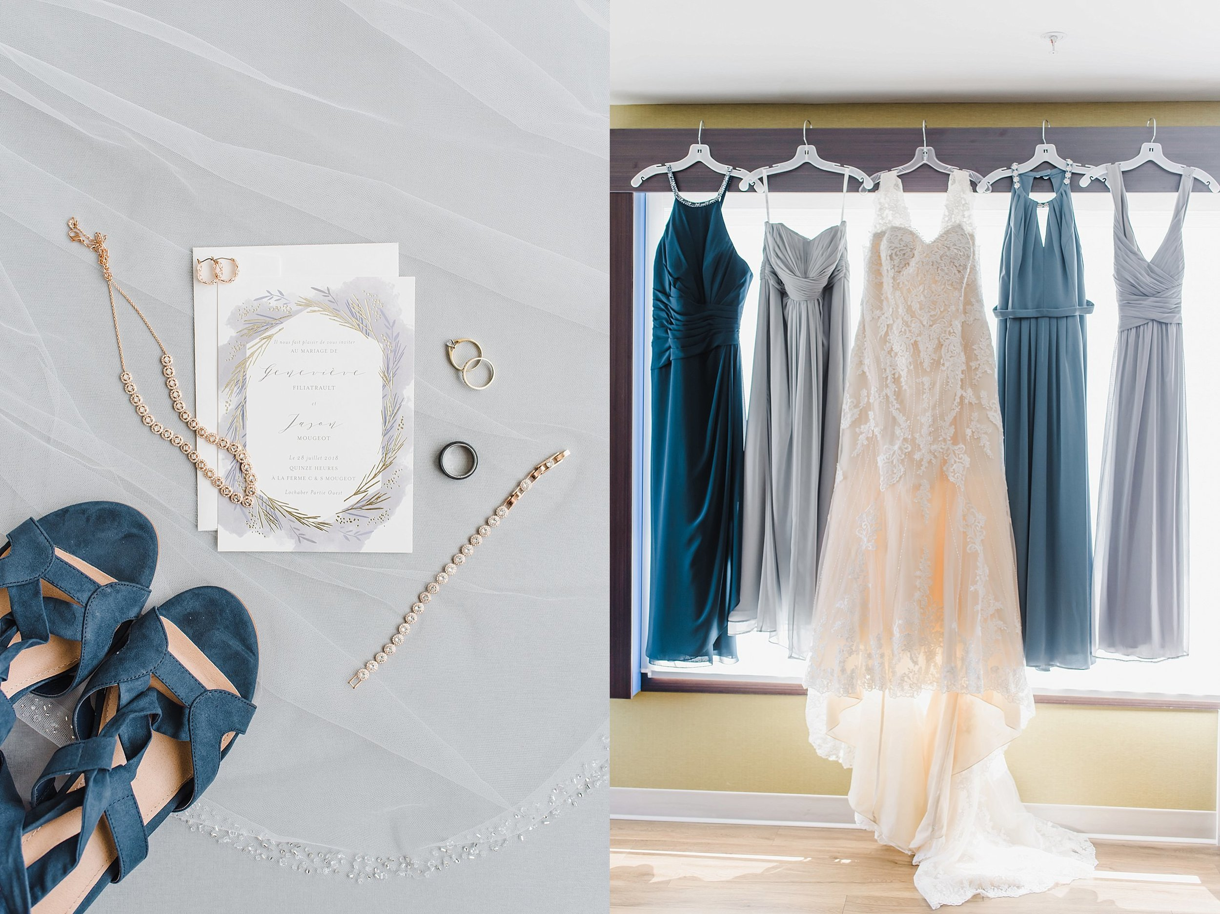 Genevieve went for multi-toned blue and grey  for her bridesmaids dresses - keeping it modern, stylish and minimalistic.