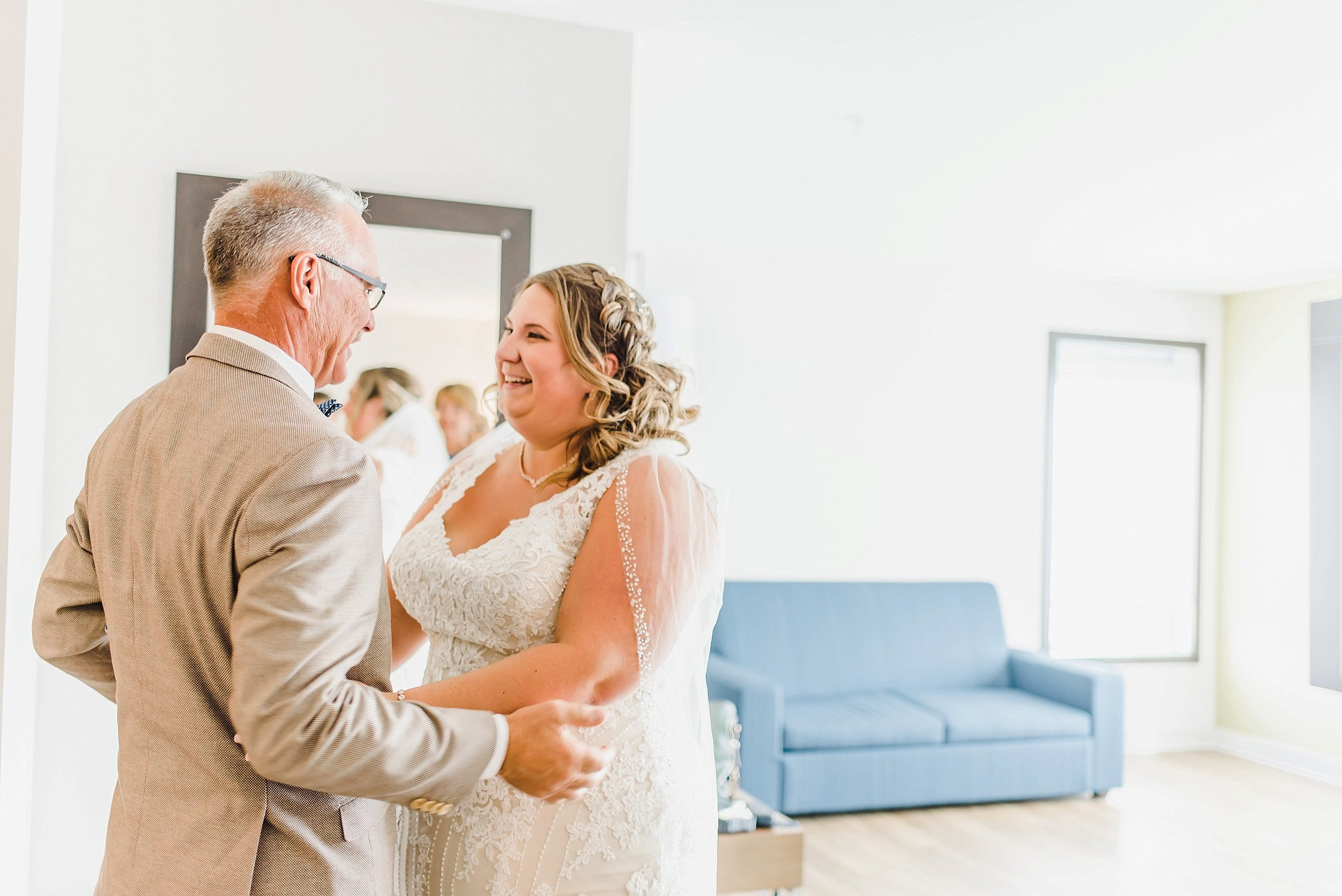 Genevieve chose to have a first look with her father before the ceremony - I think everyone in the room was crying at this point!