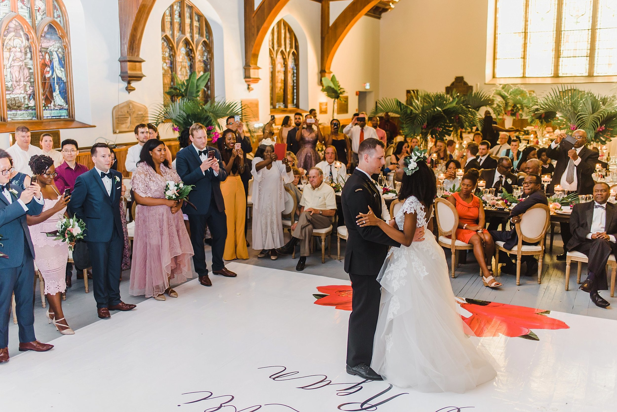 Ann-Lori and Ryan enjoyed a first dance immediately upon entering the reception.  The sun was just about setting and slipped warm rays through the stain-glassed windows for that light glow.