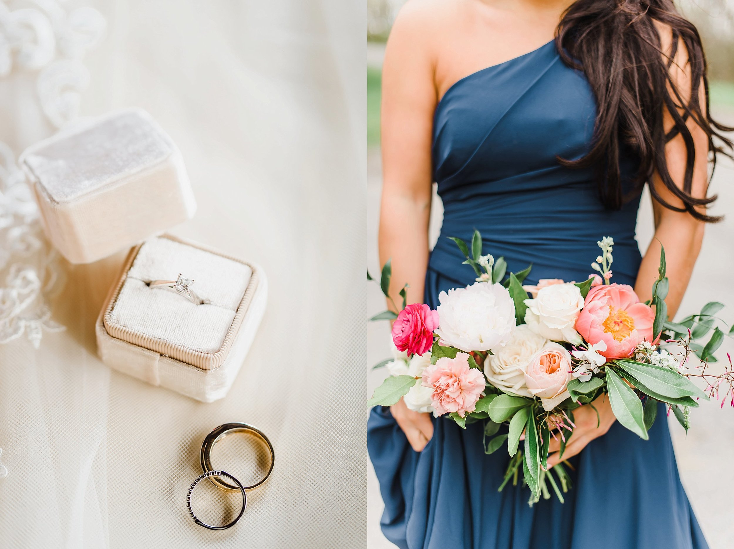 The combination of deep, navy blue with soft and bright spring florals was such a distinguishing touch to the overall romantic feel of the day.  Thanks to Frid Events for designing and executing this gorgeous look!