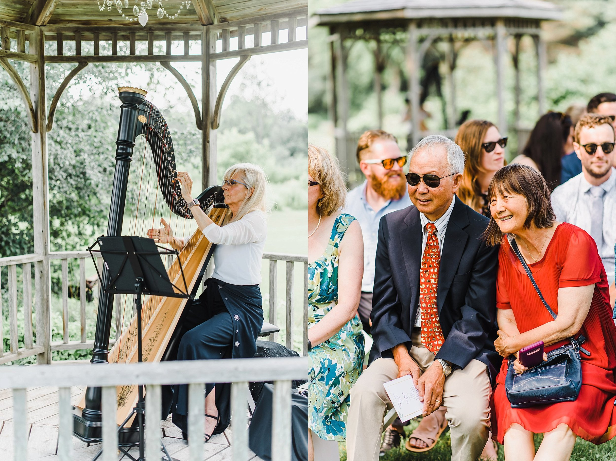 Becca's best friend's mother played the harp as the guests made their way to the ceremony space. The ceremony space had a beautiful tree front and centre that was draped with white linen in place of an alter.