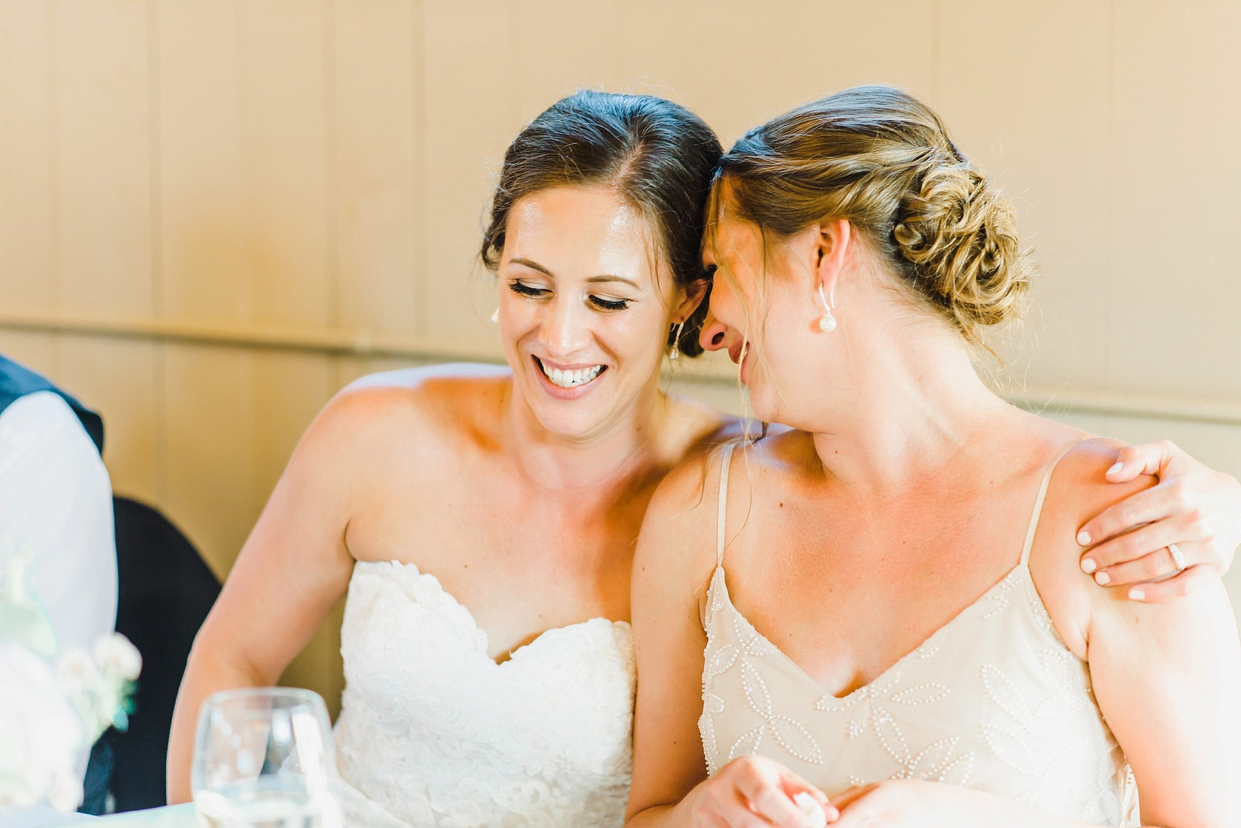 A heartfelt moment between sisters after the bride's sister gave an emotional speech!