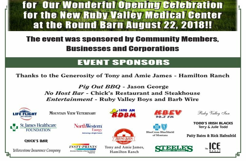 Event Sponsors for the August 22, 2018 Grand Opening celebration at the Round Barn.