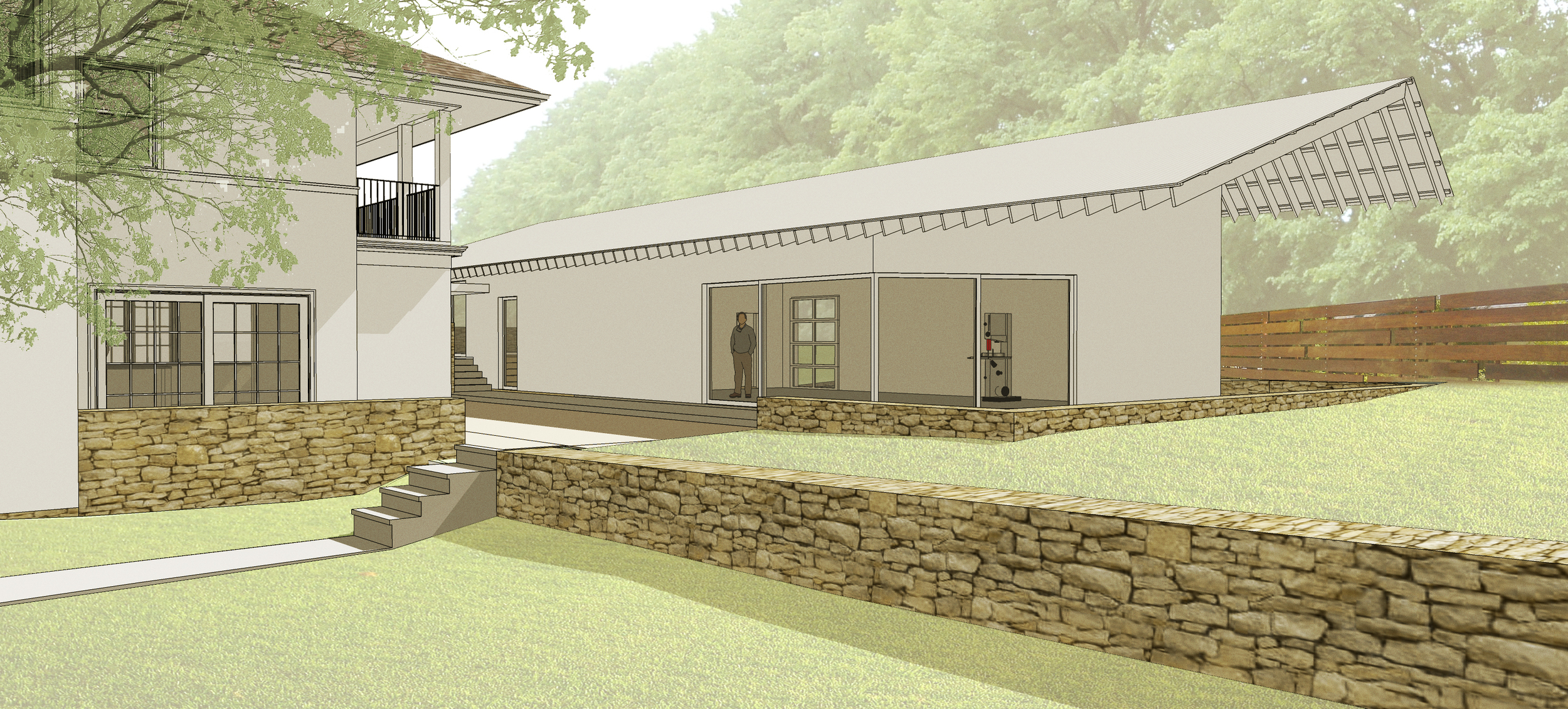 Proposed workshop/studio next to the existing house.