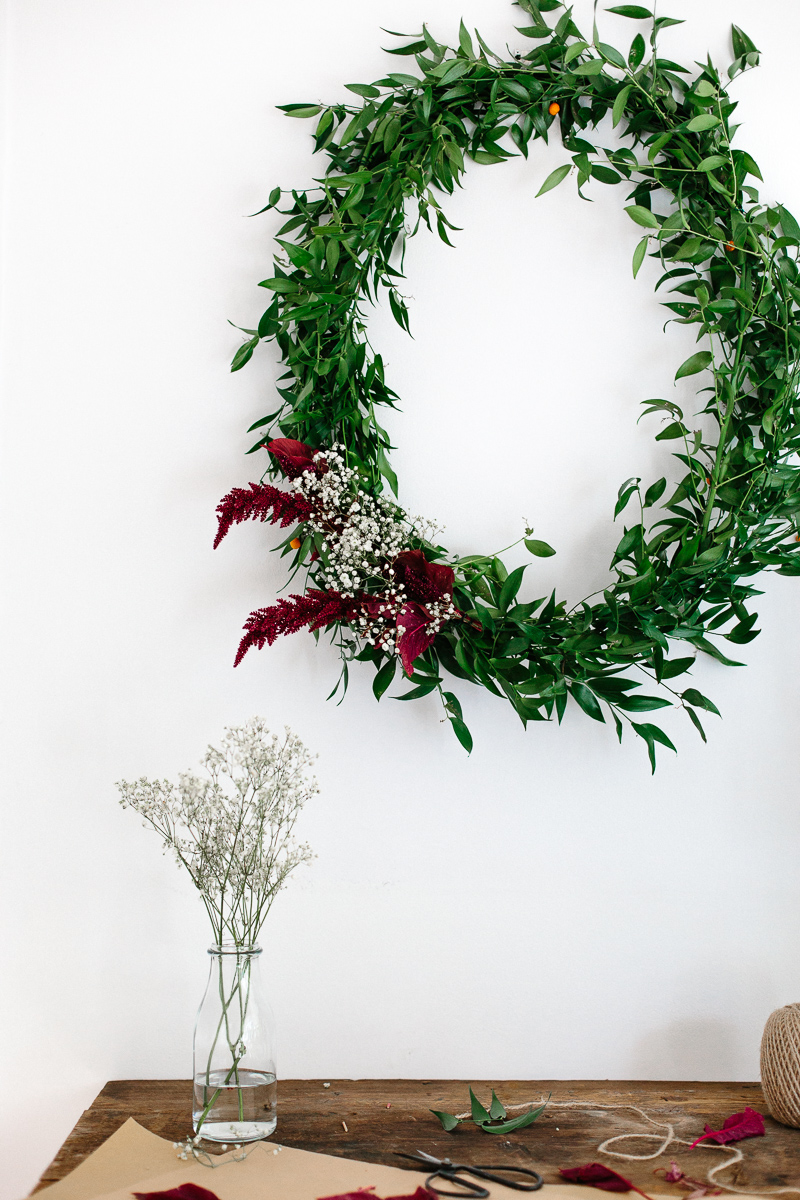 A wreath of soft ruscus and astilbe