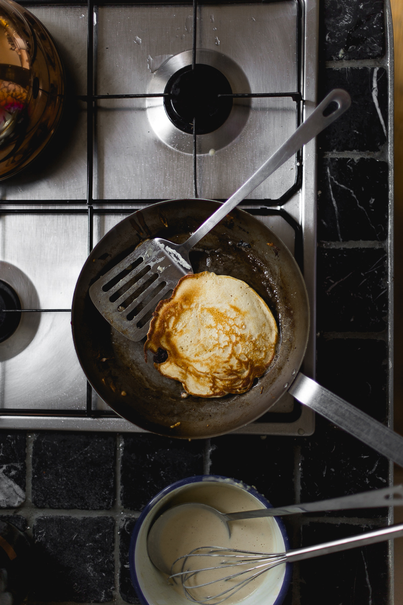 Simple Sunday Gingerbread Pancakes with Fruit Compote + Cinnamon Butter