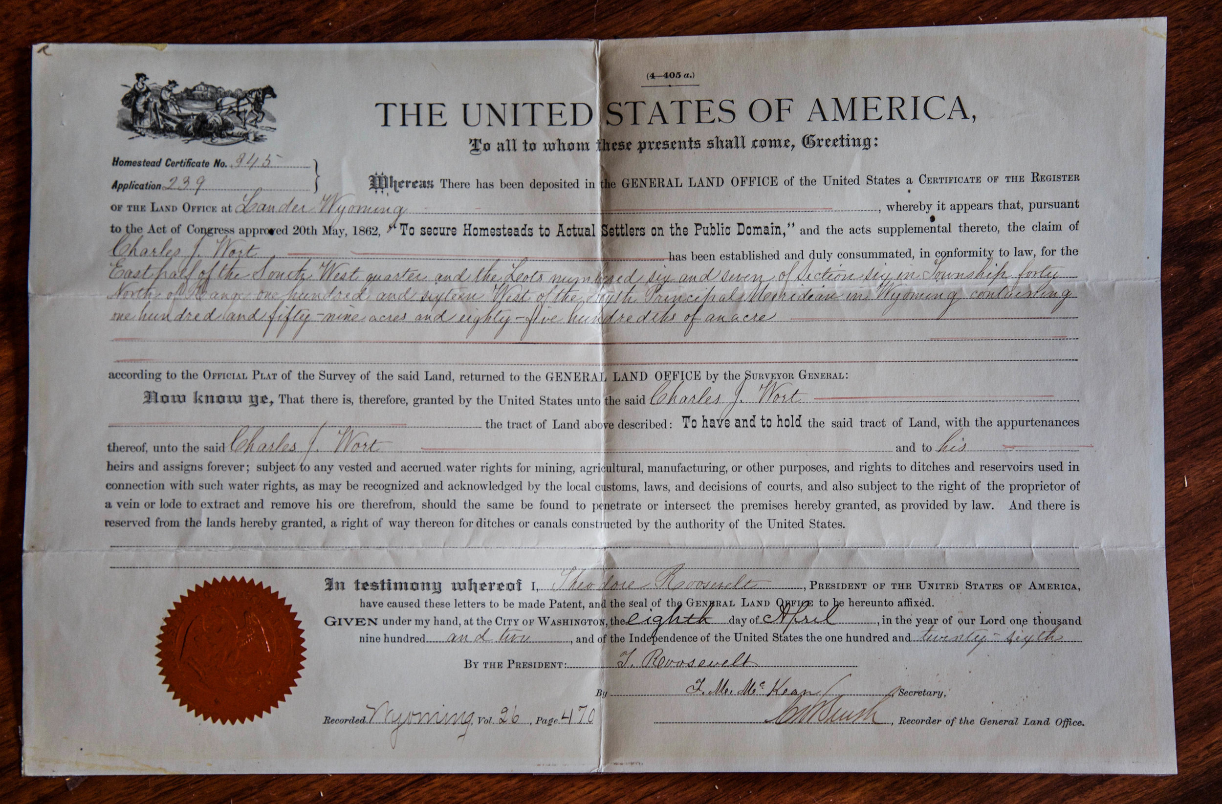 Original   Wort Homestead Deed signed by President Theodore Roosevelt on April 8, 1902.