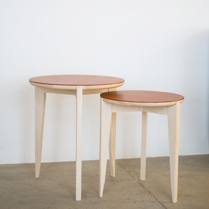 Tripod Side Table - Leather