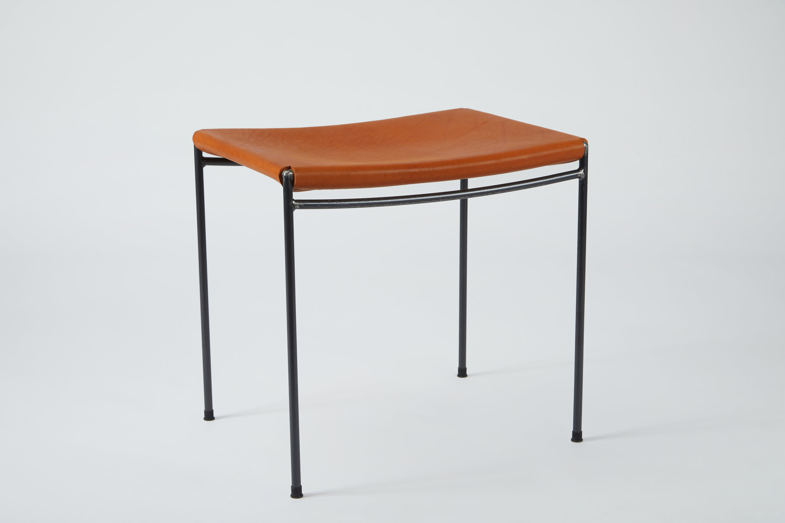 Single Rail Solid Leather Stool