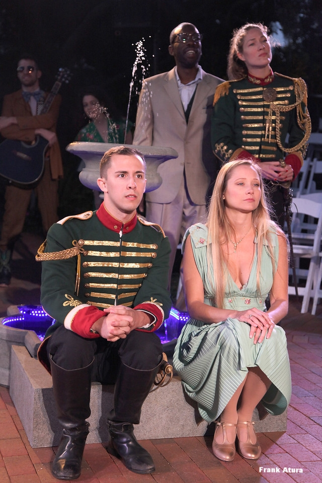 Olivia Osol as Dona Petra (Don Pedro), Lawrence James as Leonato, Katie Sah as Hero and Scott Shomaker as Claudio in the Asolo Conservatory production of Much Ado About Nothing.