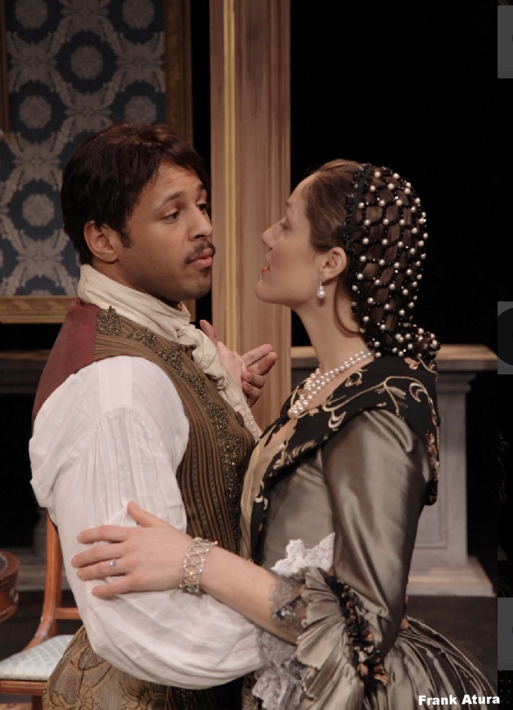 Olivia Osol as The Countess and Andy Hardaway as The Count in the Asolo Conservatory production of The Rehearsal.