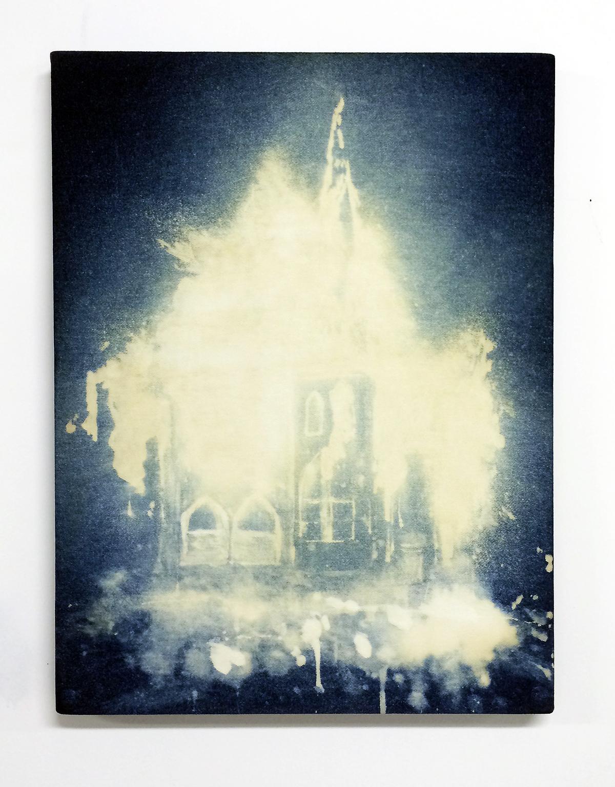 Church,  2014  Bleach on denim 18 x 24 inches