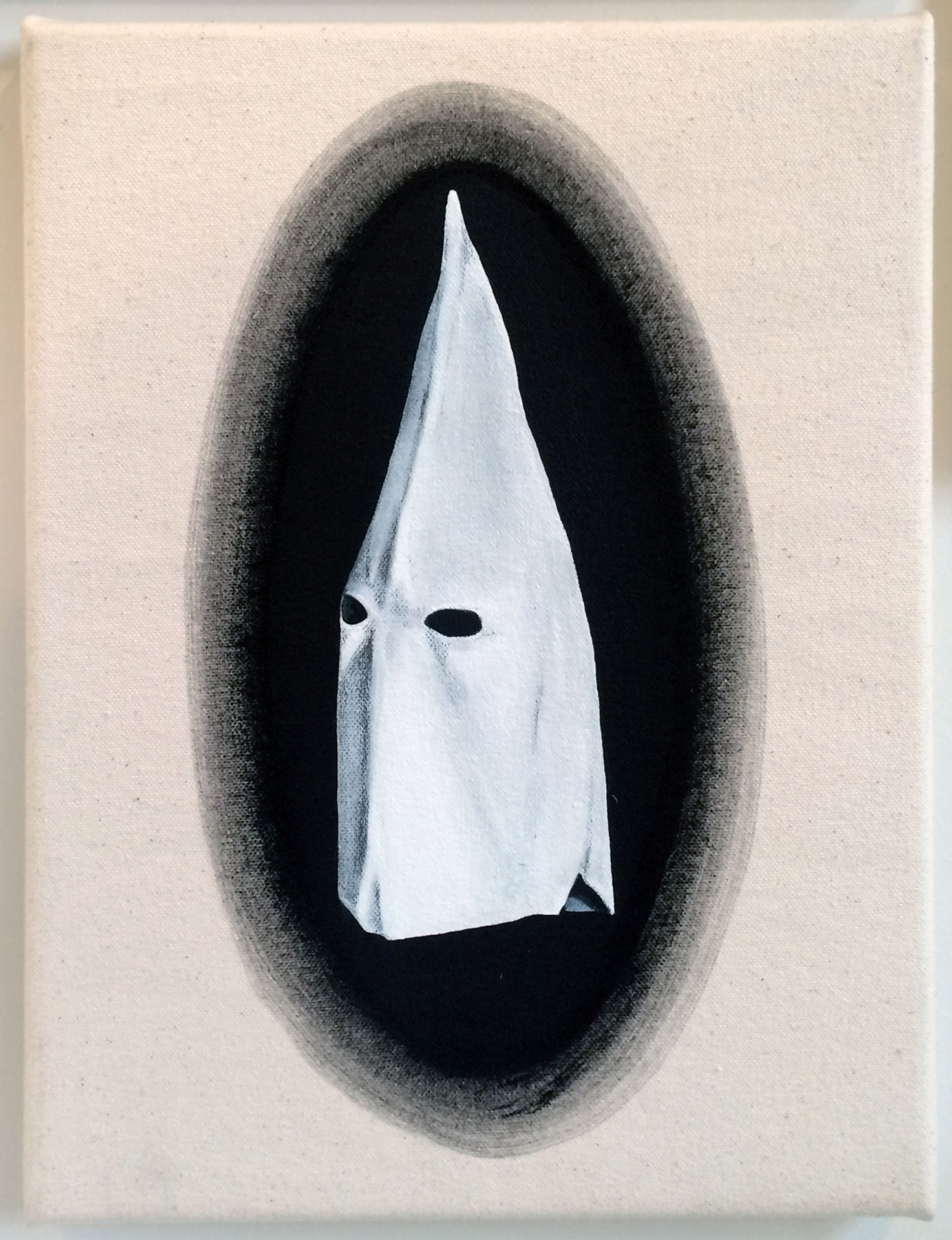 from  Atlas:  Hood (or Book Cover Ghost), 2016 Gesso on canvas 9 x 12 inches