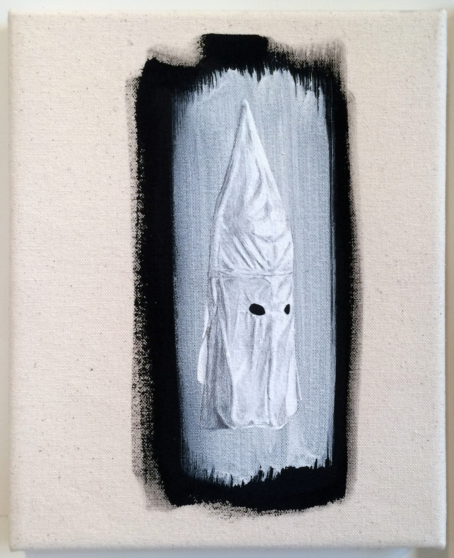 from  Atlas:  Hood (or Book Cover Ghost), 2016 Gesso on canvas 8 x 10 inches