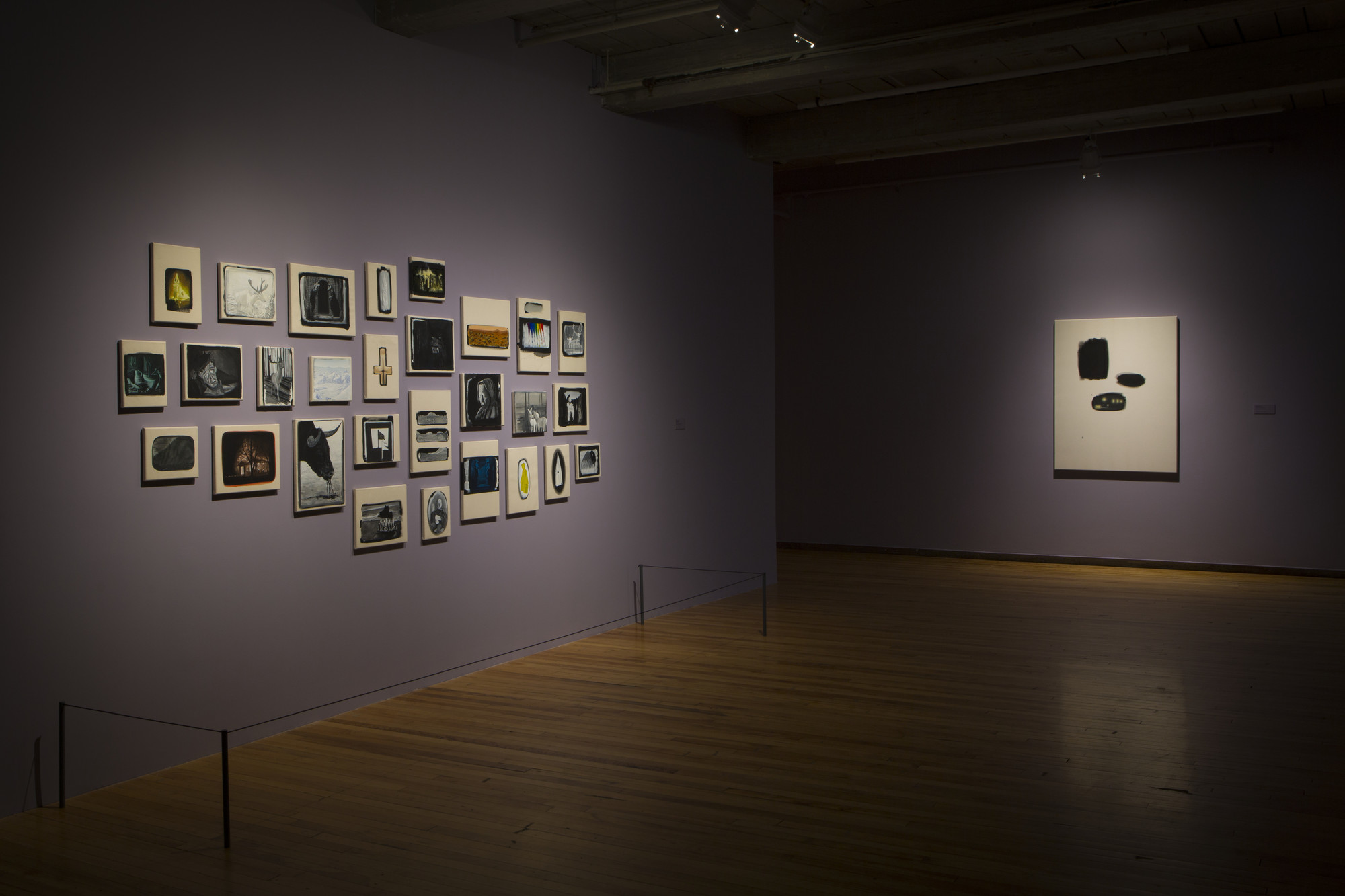 Atlas I  and  Black Blizzard  in  The Lure of the Dark: Contemporary Painters Conjure the Night  at Mass MoCA