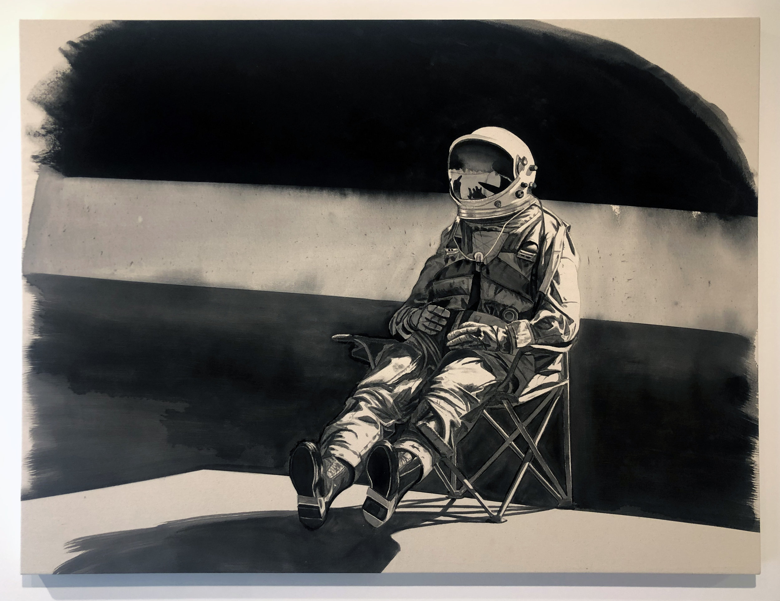 The Astronaut,  2019 Black gesso on canvas 36 x 48 inches (91.4cm x 122cm)