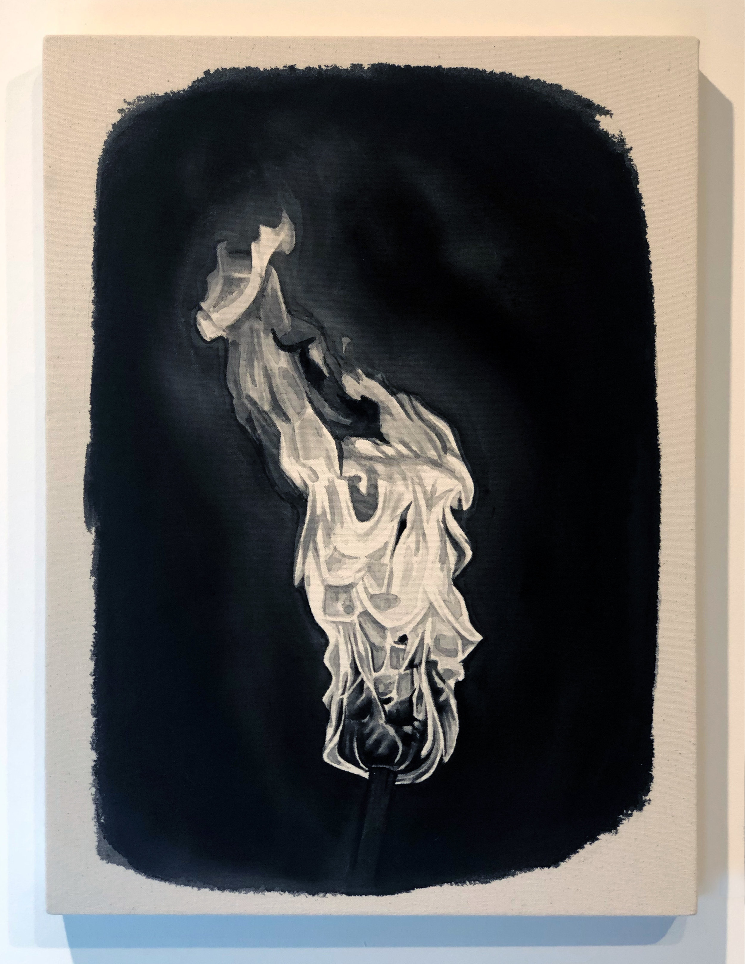 Torch,  2019 Black gesso on canvas 23.75 x 17.75 inches (60.3cm x 45cm)
