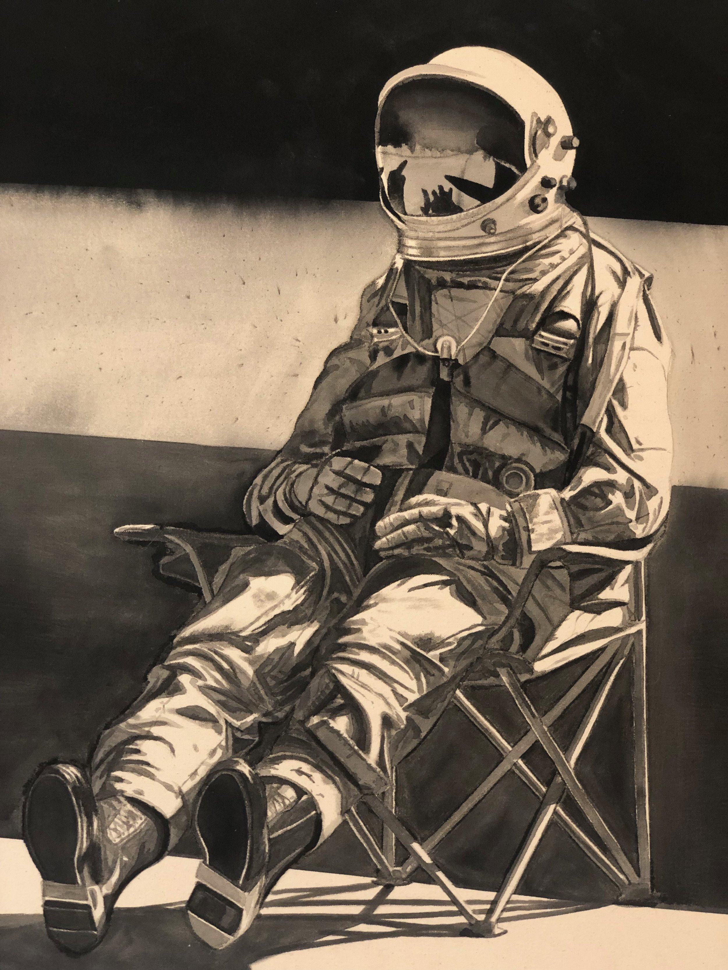 The Astronaut  [detail], 2019 Black gesso on canvas 36 x 48 inches (91.4cm x 122cm)