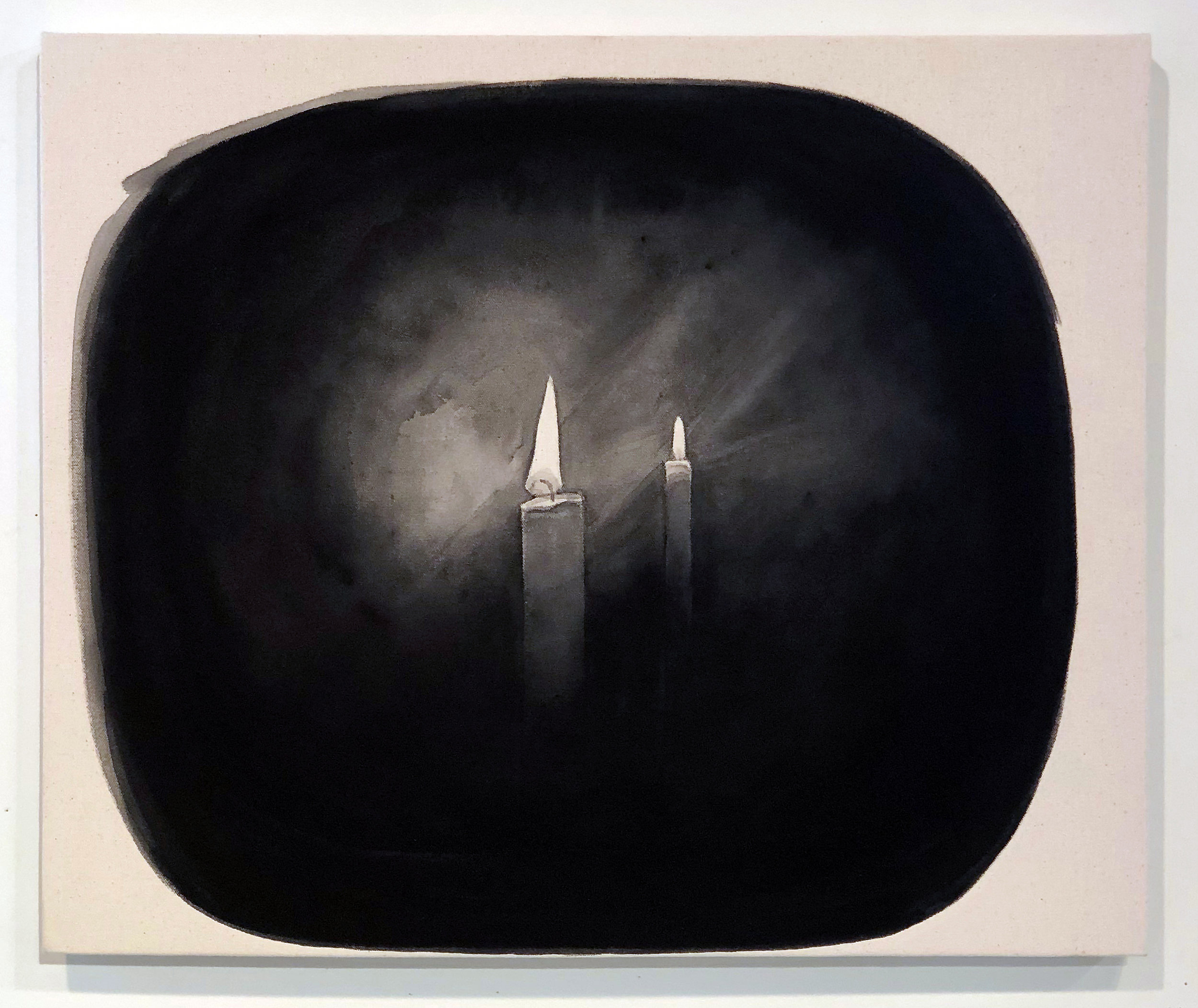 Candles (at Felix's, Greenpoint),  2019 Black gesso on canvas 23.5 x 19.5 inches (59.7cm x 49.5cm)