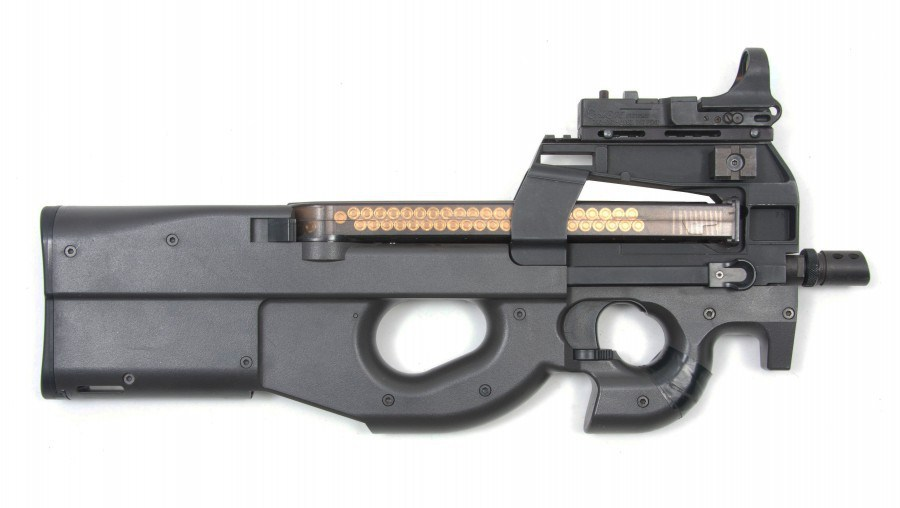 Above: Picture of real P90. Below: Equipment used in BaseTactics laser tag gaming system.