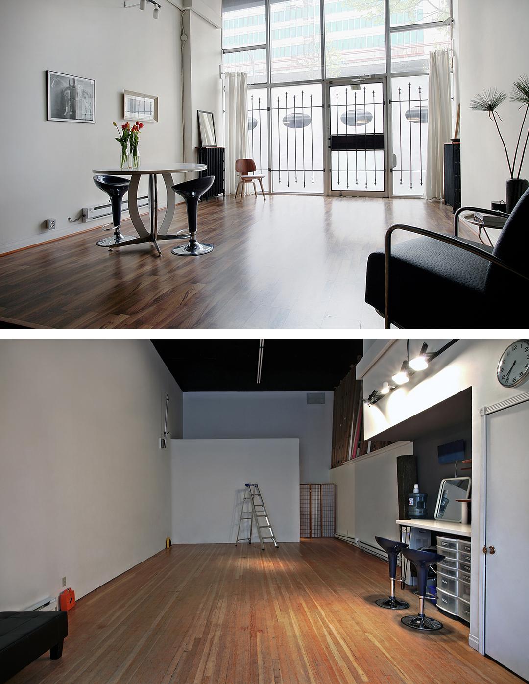 Top: Studio Lobby / Art Gallery | Bottom: Studio Space (800-950 sq. ft.)