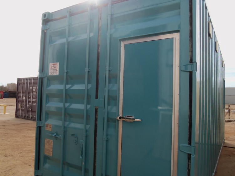 20' high cube ISO container conversion. Customer-provided color code. Tidalwave™ door-in-door™.