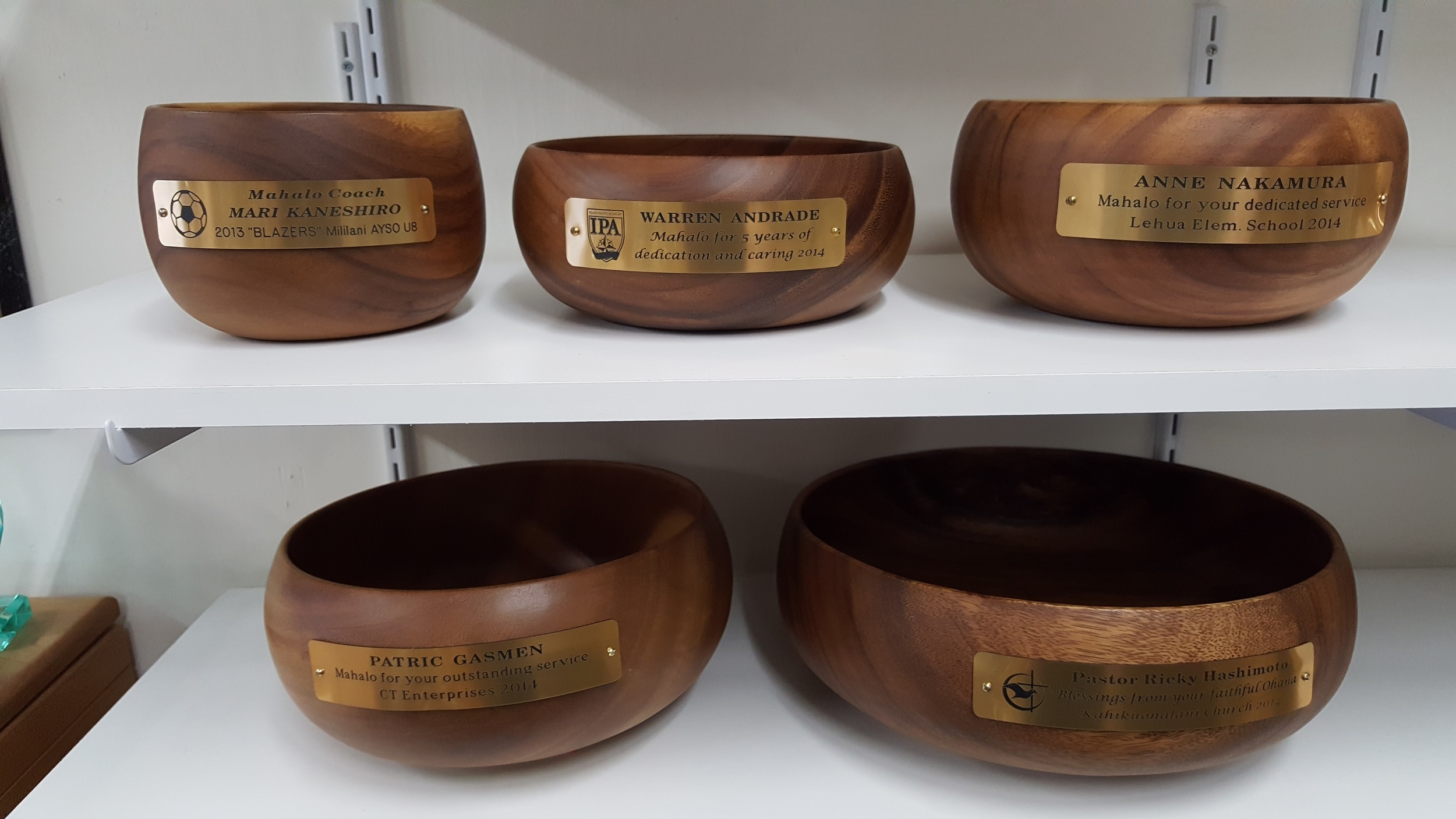 Monkeypod Bowls  4x6 - 26.00, 3x8 - 29.00, 4x8 - 39.00, 4x10 - 49.00, 4x12 - 59.00 Price includes 3 lines of engraving & stock emblem (soccer ball etc)  Add 3.00 for Custom logo.