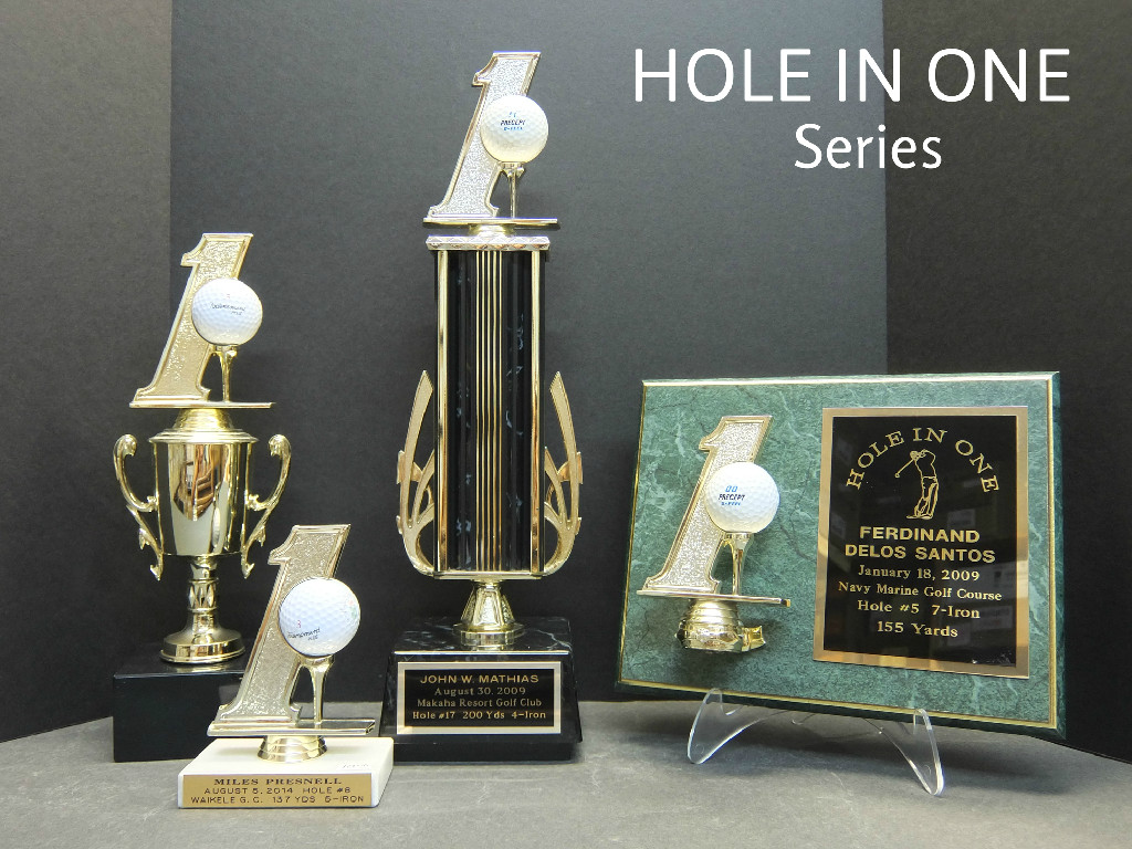 HOLE IN ONE CUP  - 32.00,  SMALL HOLE IN ONE  10.50,  HOLE IN ONE TROPHY  - 44.00,  HOLE IN ONE PLAQUE  - 54.00