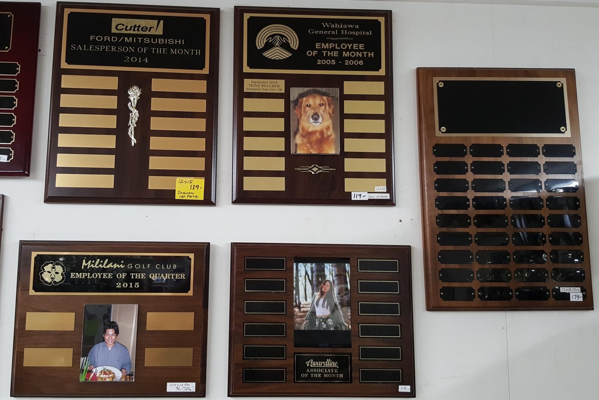 Perpetual Plaque Samples  119.00, 119.00, 179.00, 96.00, 114.00