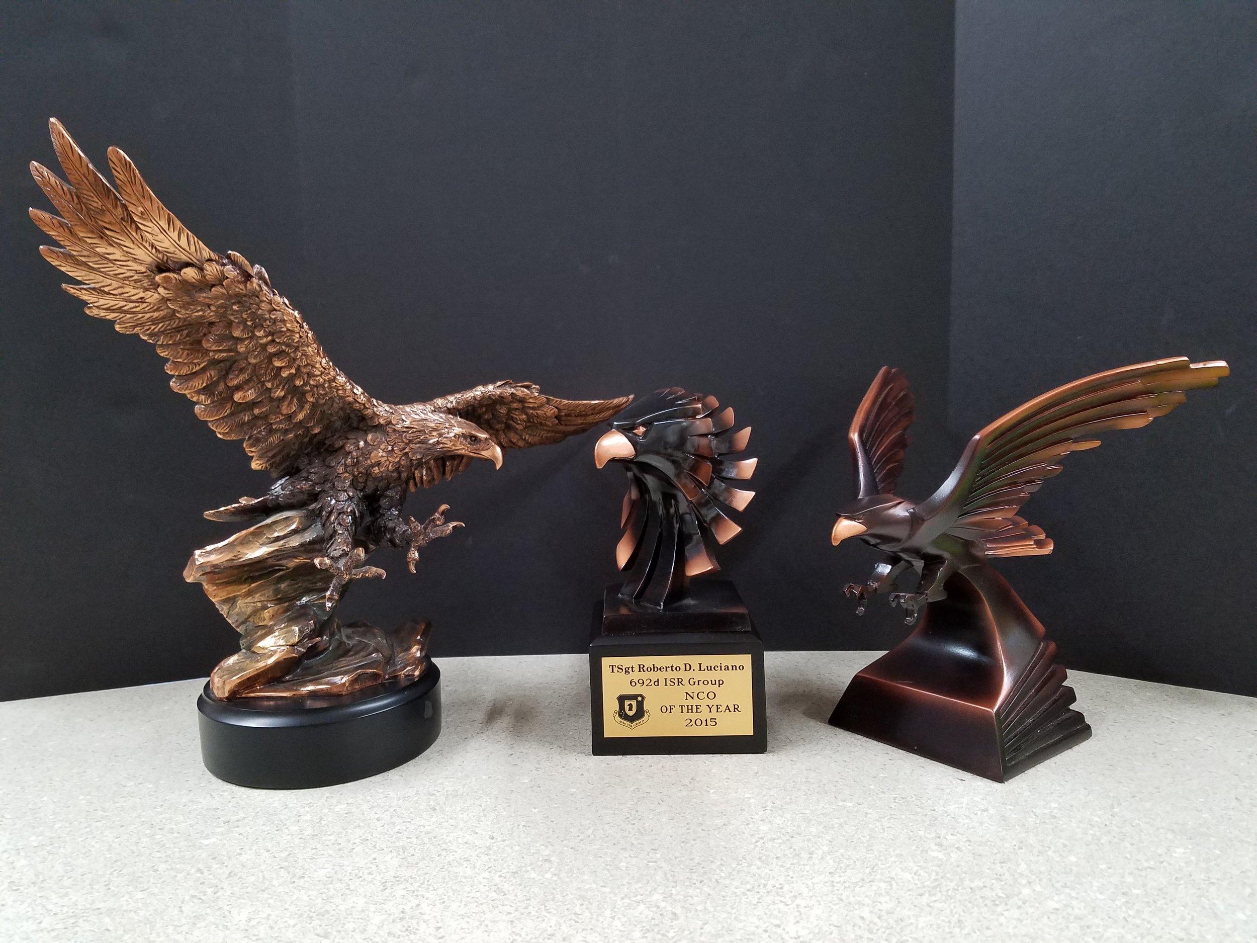 """EAGLE 1  (14"""") - 159.00,  EAGLE HEAD  (9"""") - 94.00,  EAGLE 2  (9"""") - 105.00"""