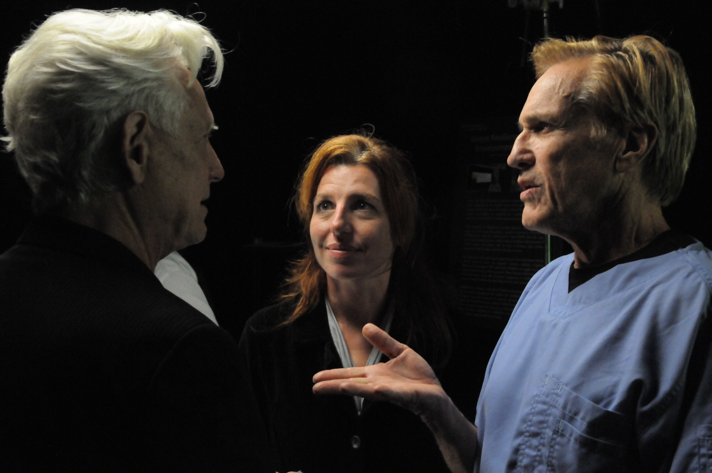 (BTS Series) (Actors Bruce Davison and Tanna Frederick share a moment with director Randal Kleiser) (Photo Jeff Kleiser).jpg