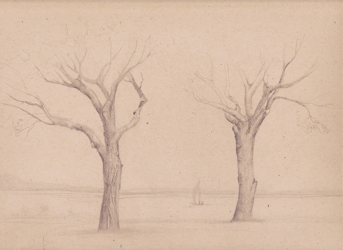 """Drawing by Irina, Graphite on toned drawing paper. 11""""x9"""""""