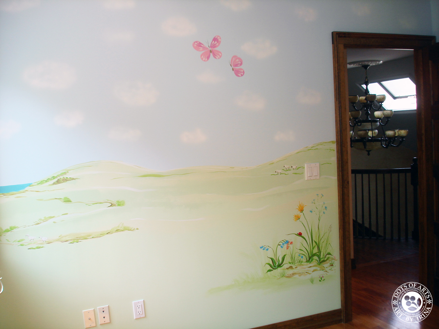 mural-custom-baby-room-farm-theme-clouds-wild-flowers-dots-of-arts-doors.jpg