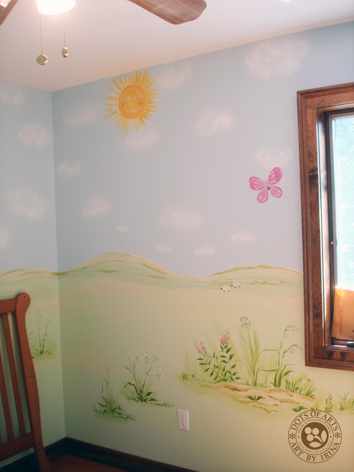 mural-custom-baby-room-farm-theme-clouds-wild-flowers-dots-of-arts-sun.jpg