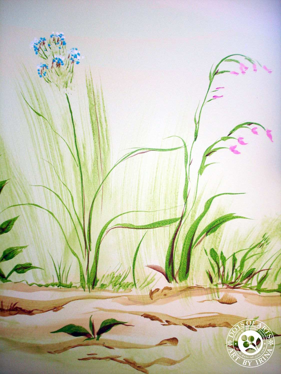 mural-custom-baby-room-farm-theme-clouds-wild-flowers-dots-of-arts-grass.jpg