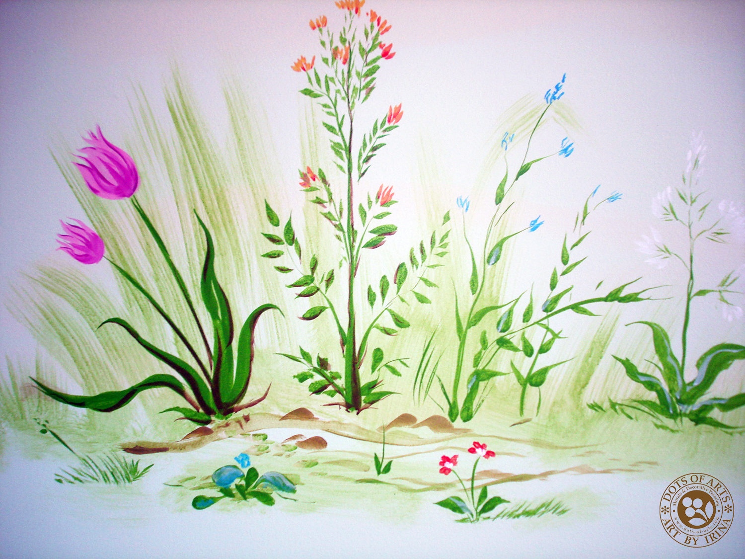 mural-custom-baby-room-farm-theme-clouds-wild-flowers-dots-of-arts-pink-tulips.jpg