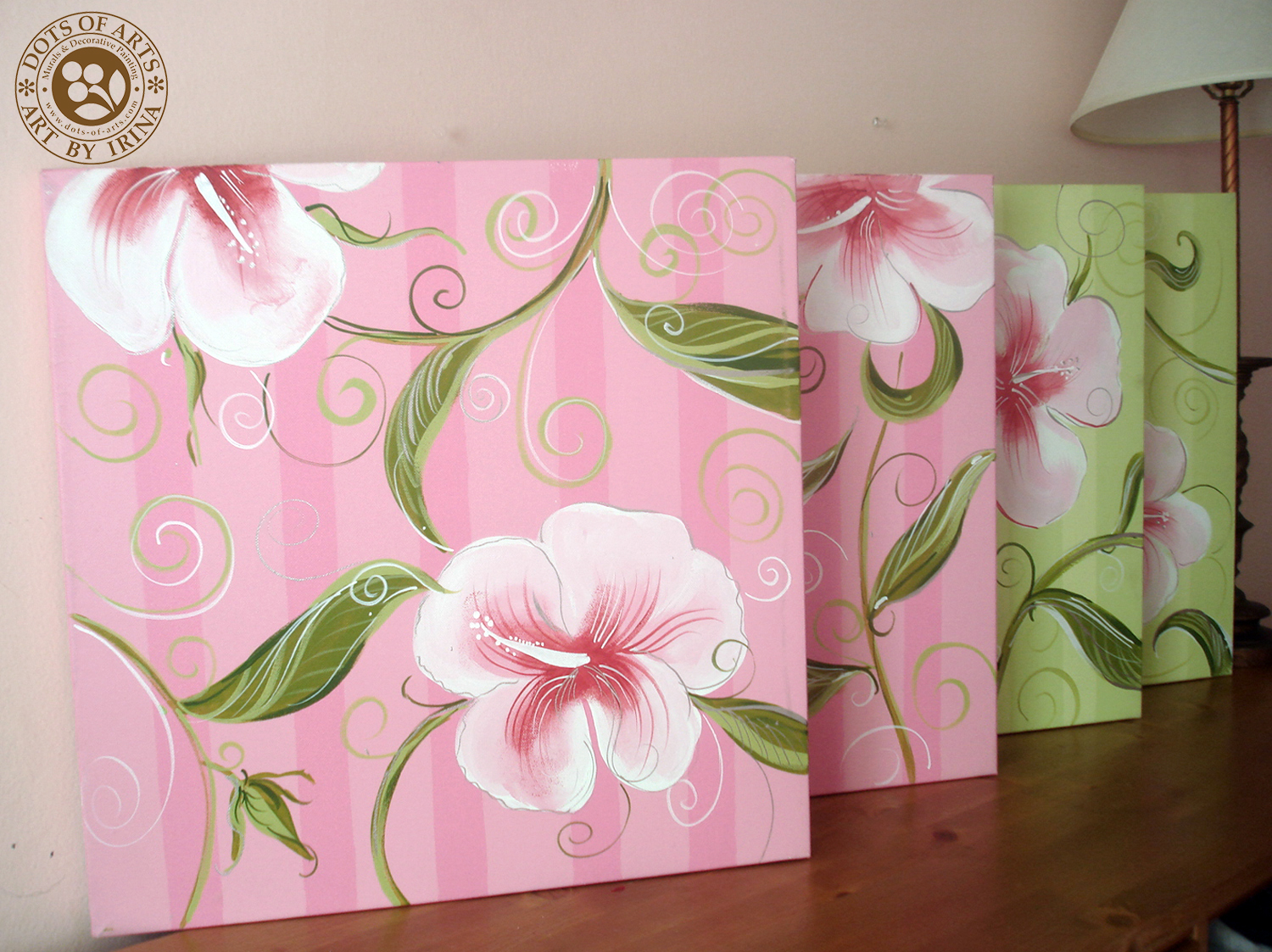 decorative-painting-canvases-custom-dots-of-arts-accessories-four-pink-flower-green-stripes.jpg