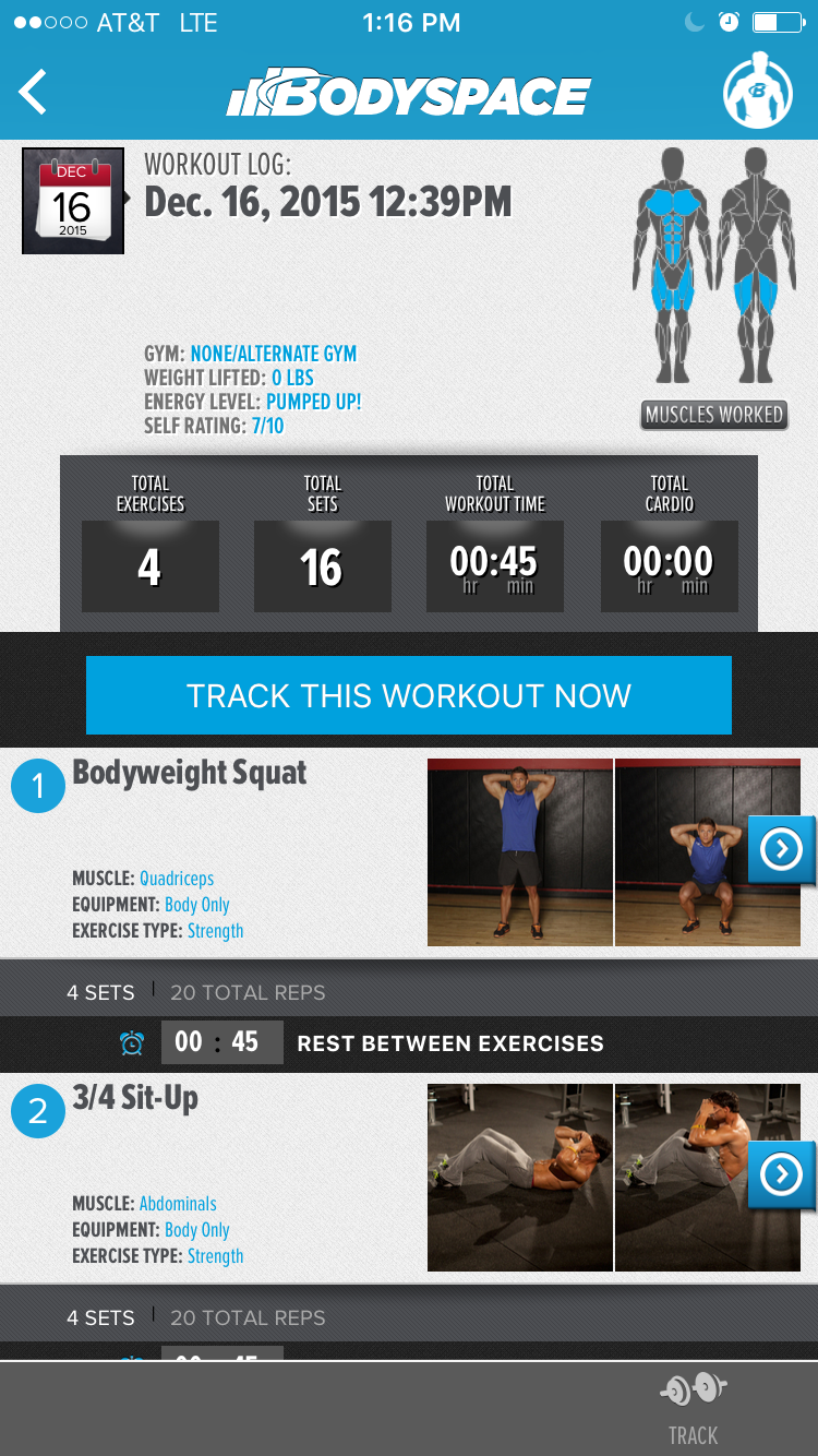 Tracking a body weight exercise routine on Bodyspace App