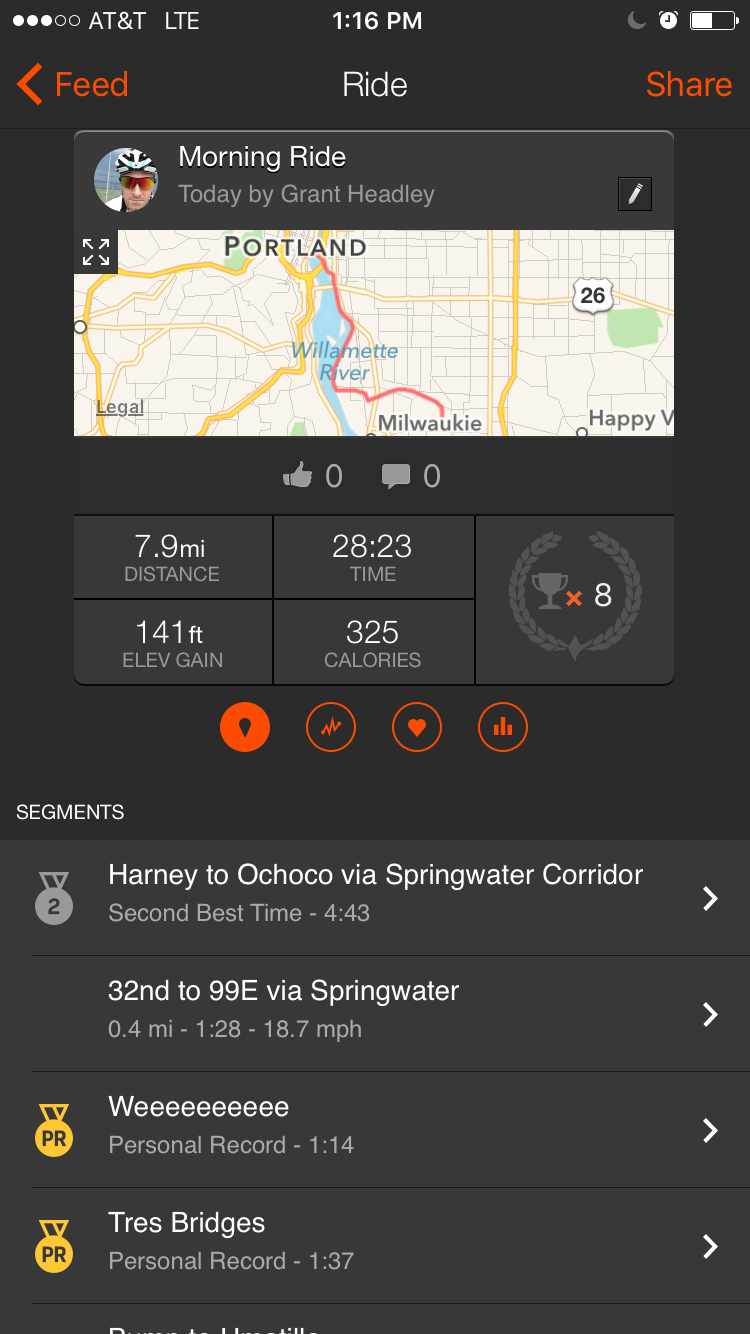 Traking a bike ride on Strava: segments comparing you to others who have ridden the same segment.