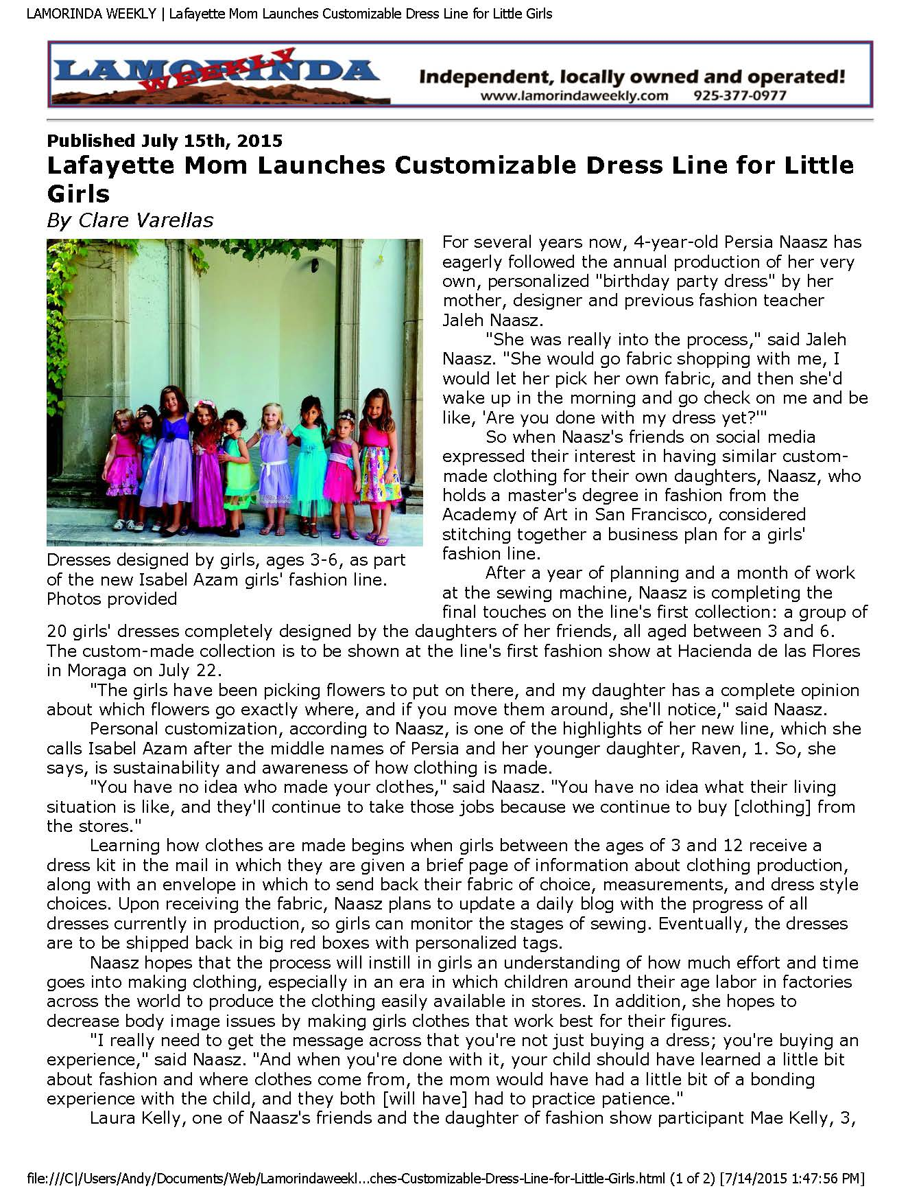 Lamorinda Weekly Article July 2015