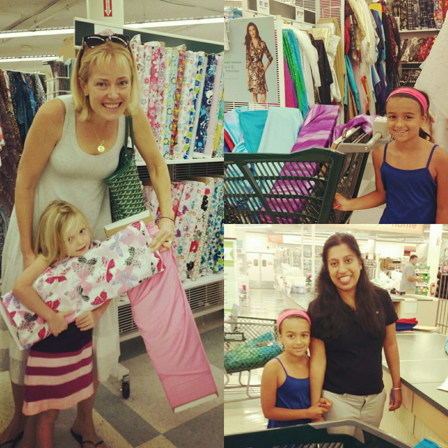 One of my absolute favorite things to do with Persia is fabric shopping and today I got to watch two other sets of moms and daughters go through that experience. 8 yr. Old Anika picked out fabric and trims for 12 of her friends so i can teach them how to make a skirt inspired by her culture at her birthday party tomorrow. 4 year old Piper picked out materials for her custom Isabel Azam dress that she won at our Lamorinda fashion show in July.