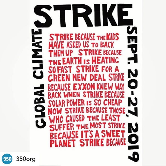 """Climate strike September 20-27 • Posted @withrepost • @350org More amazing artivism in the lead up to the Global #ClimateStrike 🎨  Repost • @davidsolnit #GLOBALCLIMATESTRIKE Words by Bill Mckibben. I paper cut and screen printed design. It's inspired by the 1969 Anti-Vietnam War Harvard student strike poster.  It""""s available as a free download to use for posters and signs as part of the most massive week of climate justice action ever.  It's part of a Climate Strike Art Kit with lots more art design downloads and art-making resources; see link in comments.  PLEASE SHARE, MAKE ART AND STRIKE FOR CLIMATE. #streetart #keepitintheground #extinctionrebellion #fridaysforfuture #artivism"""