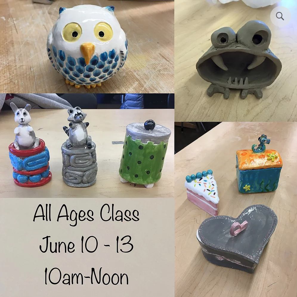 CLAY WITH KATY NICKELL (ages 6+)  June 10-13 $160 (whole week) 10am - noon  meet katy here!